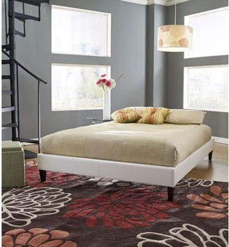 0cf3f878aa Premier Elite II Upholstered Faux Leather Platform Bed Frame with Bonus Base  Wooden Slat System,