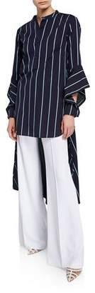Palmer Harding palmer//harding Echo Striped Open-Sleeve High-Low Shirt