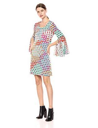 MSK Women's Knit to Woven Bell Sleeve Dress with geo Print