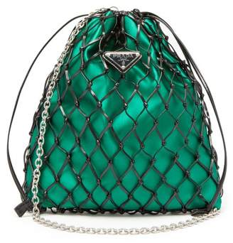 7af74314bdf2 Prada Woven Patent Leather And Satin Pouch - Womens - Black Green