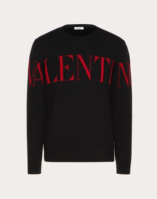 Valentino Uomo Crew-neck Jumper With Print Man Black/ Red Cashmere 100% S