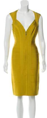 Herve Leger Bandage Zip-Up Dress Yellow Bandage Zip-Up Dress