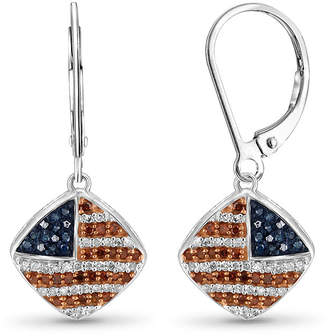 FINE JEWELRY 1/3 CT. T.W. White and Color-Treated Red & Blue Diamond Flag Earrings