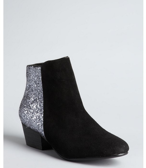 Kelsi Dagger black leather and silver glitter zip up 'Twilight' ankle boots