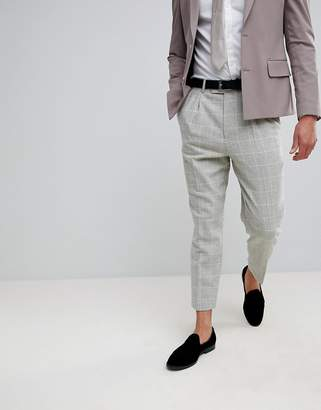 Asos Wedding Tapered Smart Pants In Putty Wool Mix Check