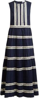 RED Valentino Bead-embellished striped cotton dress
