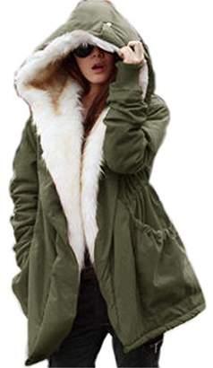 Roiii Women Thicken Warm Winter Coat Hood Parka Overcoat Long Jacket Outwear (US, )