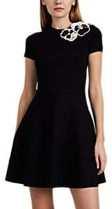 Women's Sequined-Pansy Stretch-Crepe Fit & Flare Minidress - Black