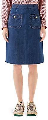 Gucci Women's Washed Denim Patch Pocket Skirt