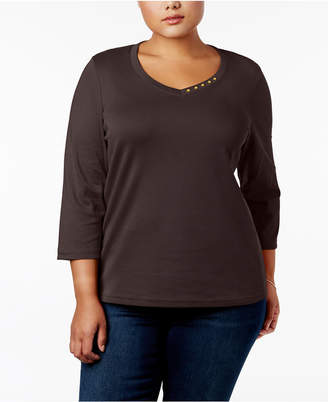 Karen Scott Plus Size Cotton Button-Trim V-Neck Top