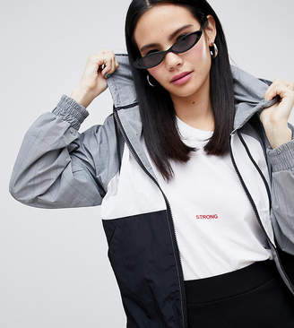 Monki hooded check jacket in gray and black