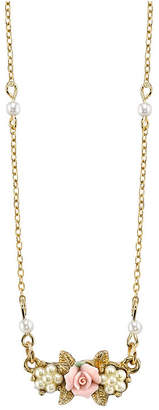 """Gold-Tone Simulated Pearl Pink Porcelain Rose Necklace 16"""" Adj."""