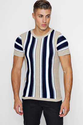 boohoo Vertical Stripe Knitted Muscle Fit T-Shirt