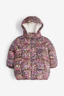 Next Girls Chocolate Shower Resistant Printed Padded Jacket (3mths-7yrs) - Brown