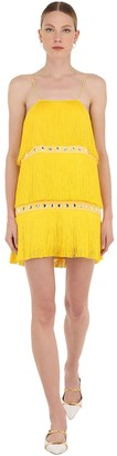 Sara Battaglia EMBELLISHED MINI DRESS W/ FRINGES