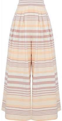 Mara Hoffman Pleated Striped Cotton Wide-leg Pants