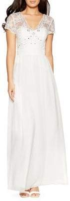 Quiz Chiffon Cap-Sleeve Maxi Dress