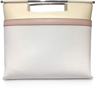 DELPOZO Color Block Leather Mid Gret Tote Bag