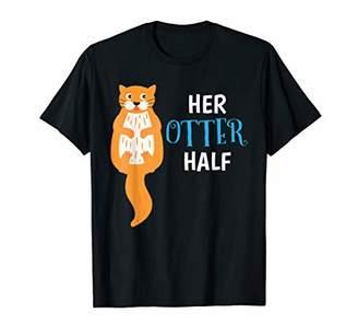 Mens Her Otter Half Shirt Animal Gift Kids Love Art Outfit T-Shirt