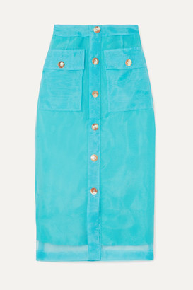 REJINA PYO Lily Button-detailed Organza Midi Skirt - Blue