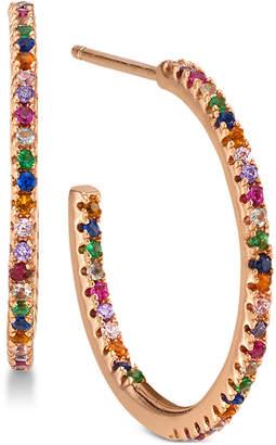 Unwritten Cubic Zirconia Rainbow In & Out Hoop Earrings in Rose Gold-Tone Sterling Silver