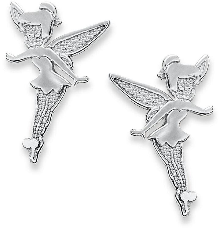 Tinkerbell Children's Sterling Silver Earrings, Disney Stamped Stud Earrings