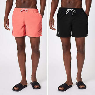 River Island Black and coral swim trunks pack