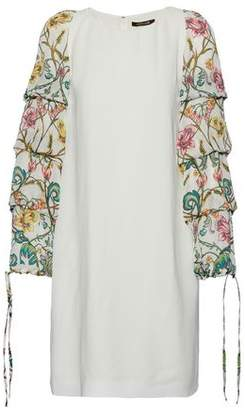 Roberto Cavalli Ruffled Floral-Print Silk-Paneled Crepe Mini Dress
