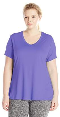 Just My Size Women's Plus-Size Cool DRI Short Sleeve V-Neck Tee