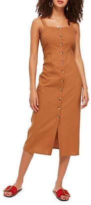 Topshop Buttoned Linen Midi Dress