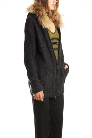 L'Agence Zip Hoody in Charcoal with Fur Trim