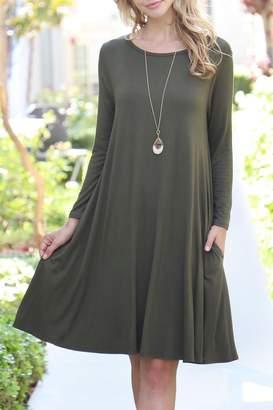 Riah Fashion 3/4-Sleeve-Solid-Rayon-Spandex Pocket Dress