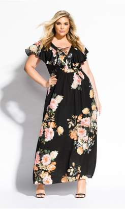 City Chic Citychic Tuscan Rose Maxi Dress - black