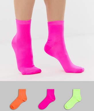 Asos DESIGN 3 pack neon ankle socks