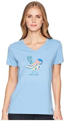 Life is Good Colorful Bird Crusher Vee Women's T Shirt