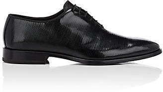 Barneys New York Men's Textured Patent Leather Wholecut Balmorals - Black