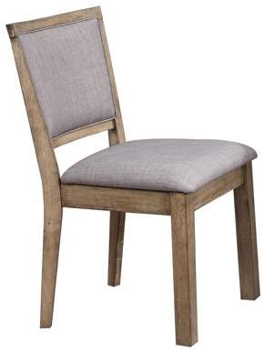 ACME Furniture Acme Bexley Fabric Padded Side Chair in Rustic Oak, Set of 2