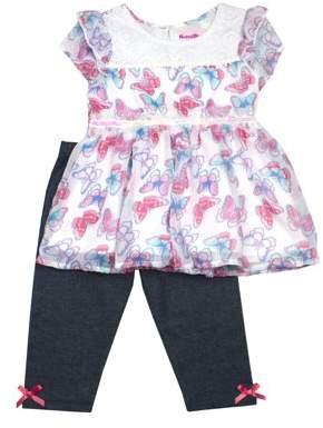 Nannette Butterfly Chiffon and Lace Top & Denim Leggings, 2pc Outfit Set (Toddler Girls)