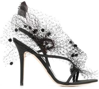 Andrea Mondin Anne veil and feathers sandals