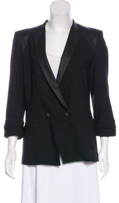 Helmut Lang Wool Leather-Paneled Blazer