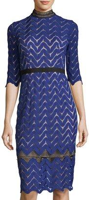 JAX 3/4-Sleeve Chevron-Lace Midi Dress $119 thestylecure.com