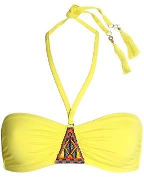 Bead-Embellished Halterneck Bikini Top