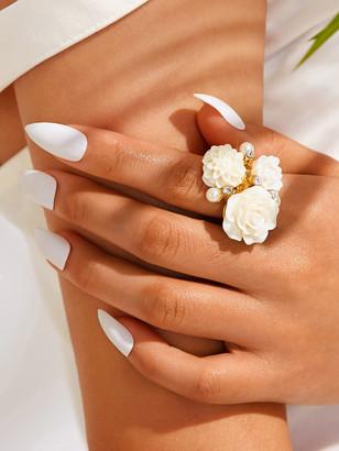 Shein Flower & Rhinestone Decor Ring 1pc
