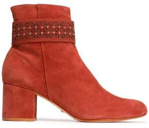 Schutz Studded Mesh-Trimmed Suede Ankle Boots