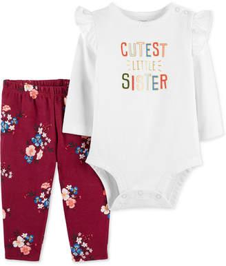 Carter's Baby Girls 2-Pc. Cotton Cutest Sister Bodysuit & Floral-Print Pants Set