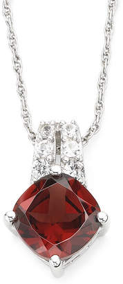 JCPenney FINE JEWELRY Genuine Garnet & Lab-Created White Sapphire Pendant Sterling Silver Necklace