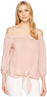 Liverpool Off-the-Shoulder Shirt with Tie Front Women's Clothing