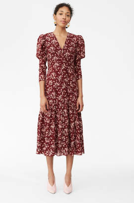 Rebecca Taylor Tilda Floral Silk V-Neck Dress