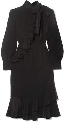 Co Ruffled Crepe Midi Dress - Black