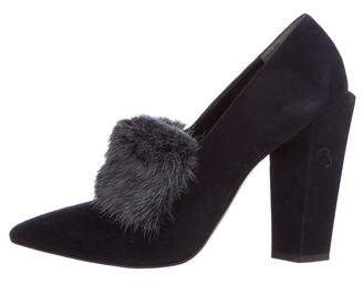 Fendi Alexane Fur-Trimmed Pumps